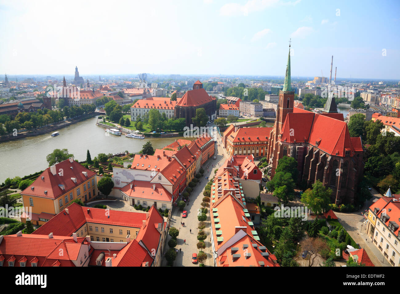 View from St. Johns cathedral tower across Cathedral Island, Wroclaw, Lower Silesia, Poland, Europe - Stock Image