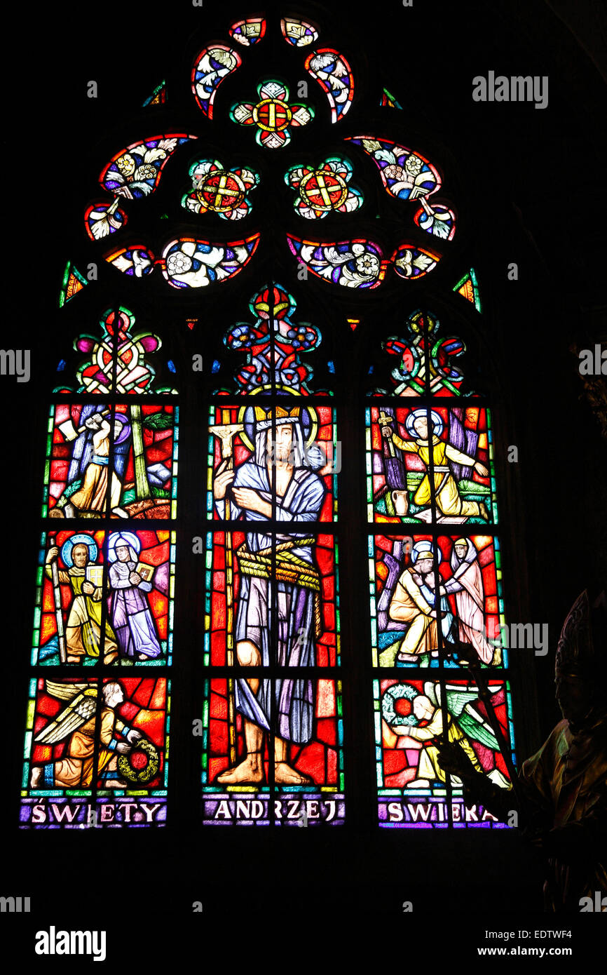 Windows in St. Johns cathedral, Cathedral Island, Wroclaw, Lower Silesia, Poland, Europe Stock Photo