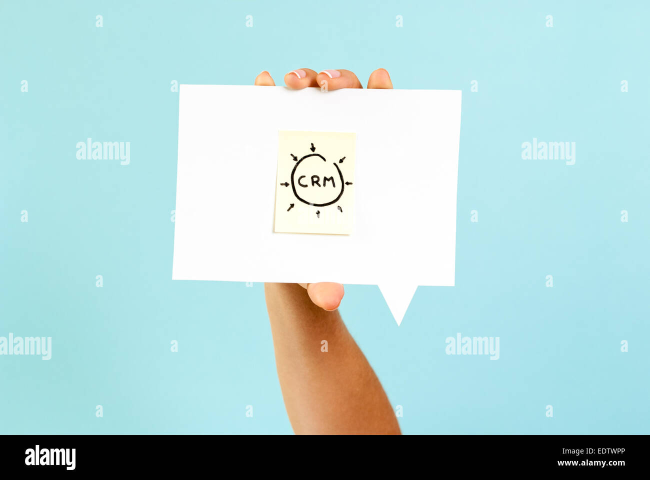 Customer relationship management CRM concept on speech bubble - Stock Image