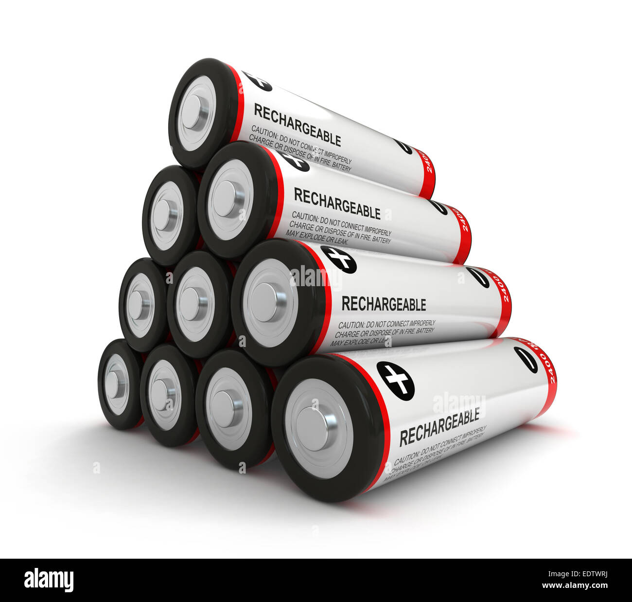 3d render of batteries over white background - Stock Image