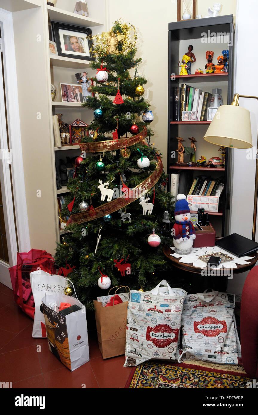 Traditional Christmas tree and presents, Barcelona, Catalonia , Spain x-mas V - Stock Image