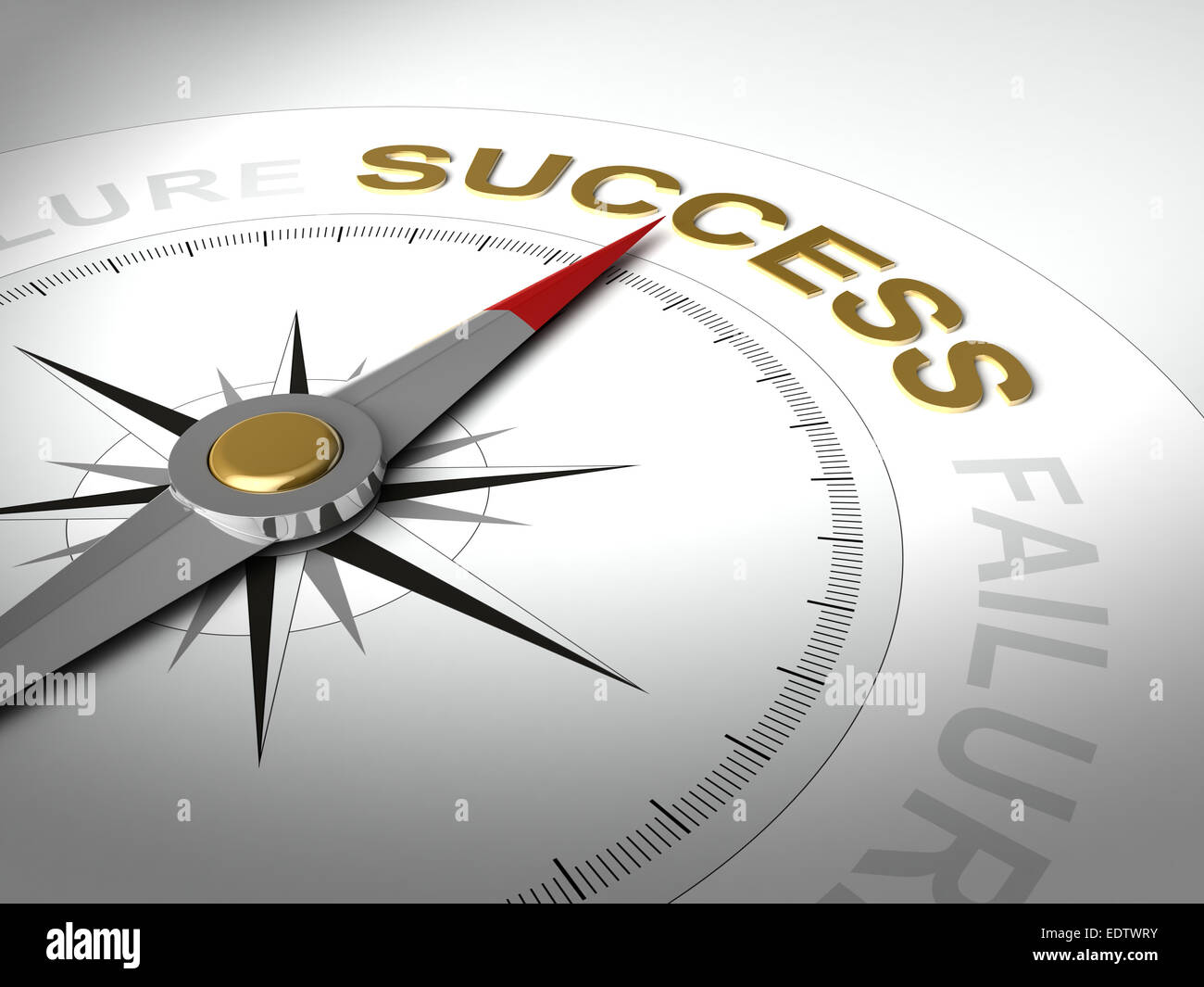 Conceptual 3D render of compass with needle pointing the word success - Stock Image