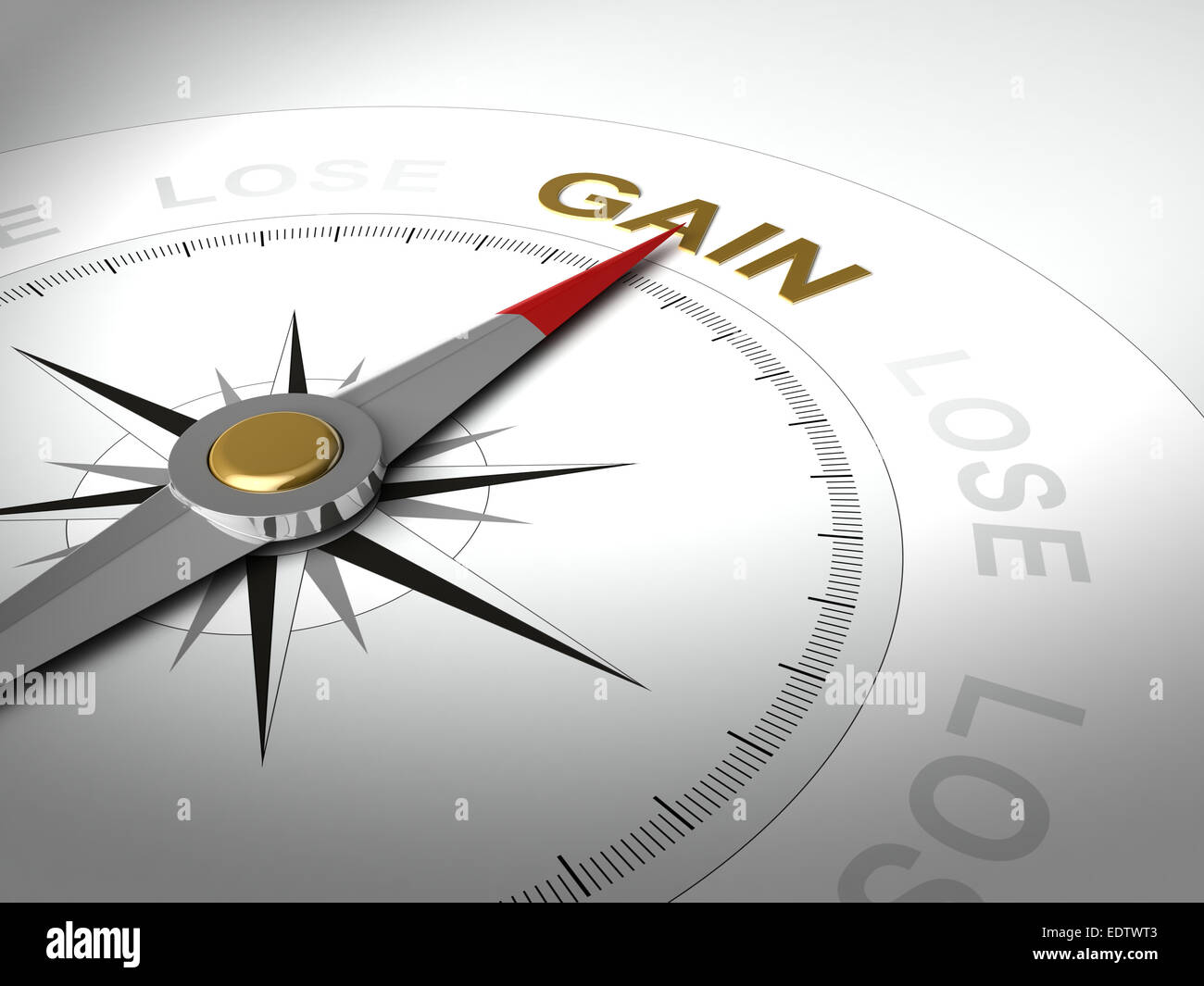Conceptual 3D render of compass with needle pointing the word gain - Stock Image