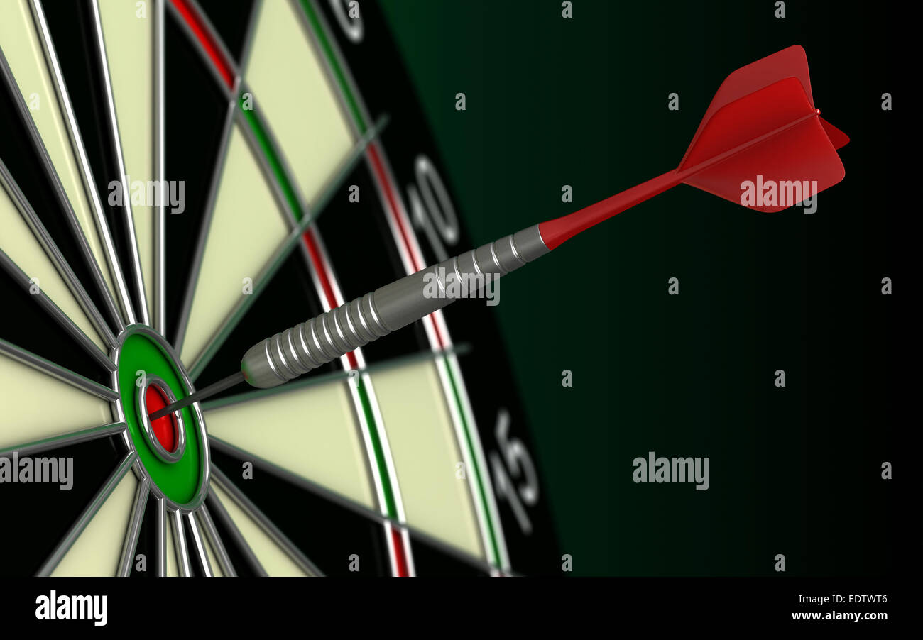 close up 3d render of dart and board - Stock Image