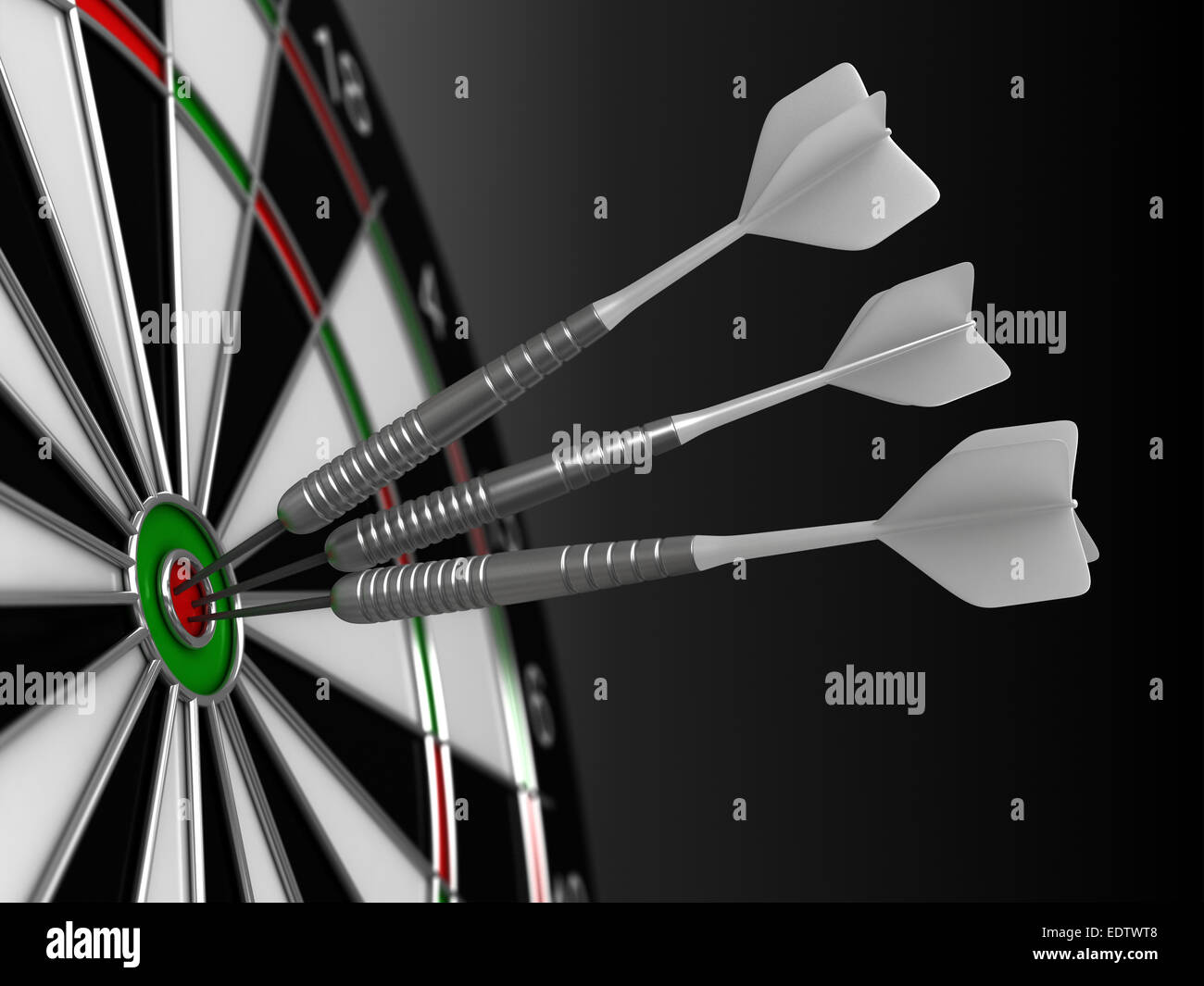 Close up 3d render of darts and board - Stock Image