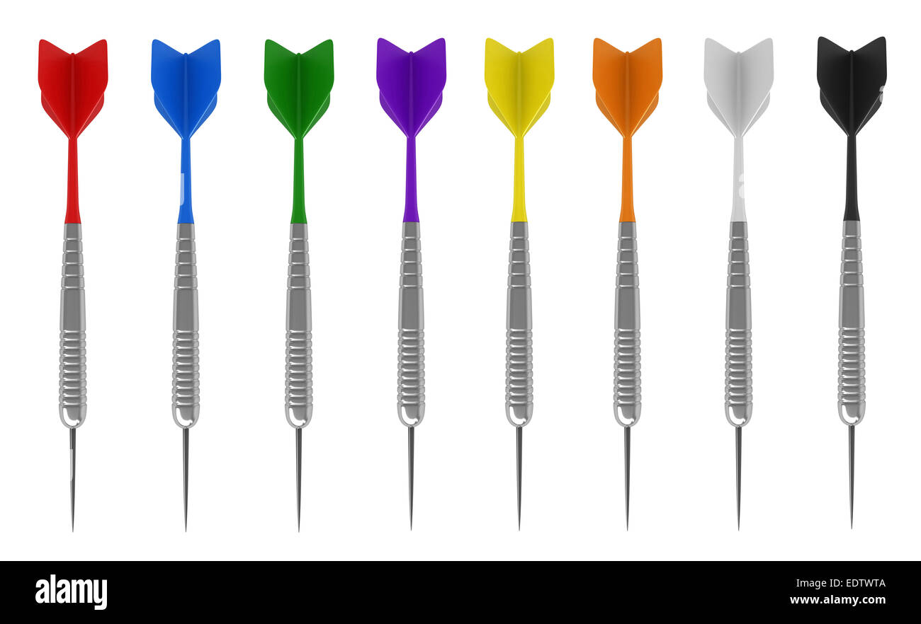 3d render of darts in various colors isolated on white background - Stock Image