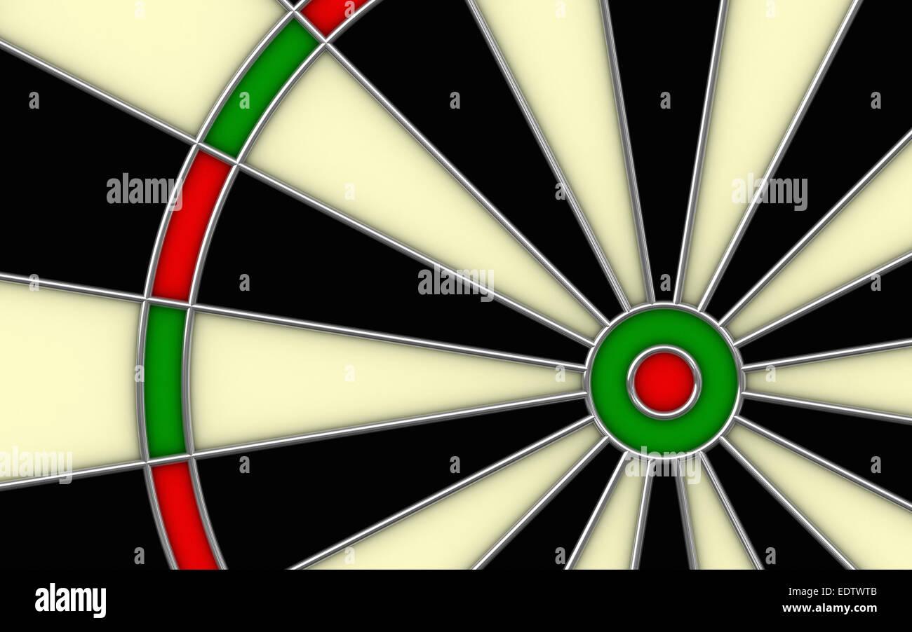 Close up 3d render of darts board - Stock Image