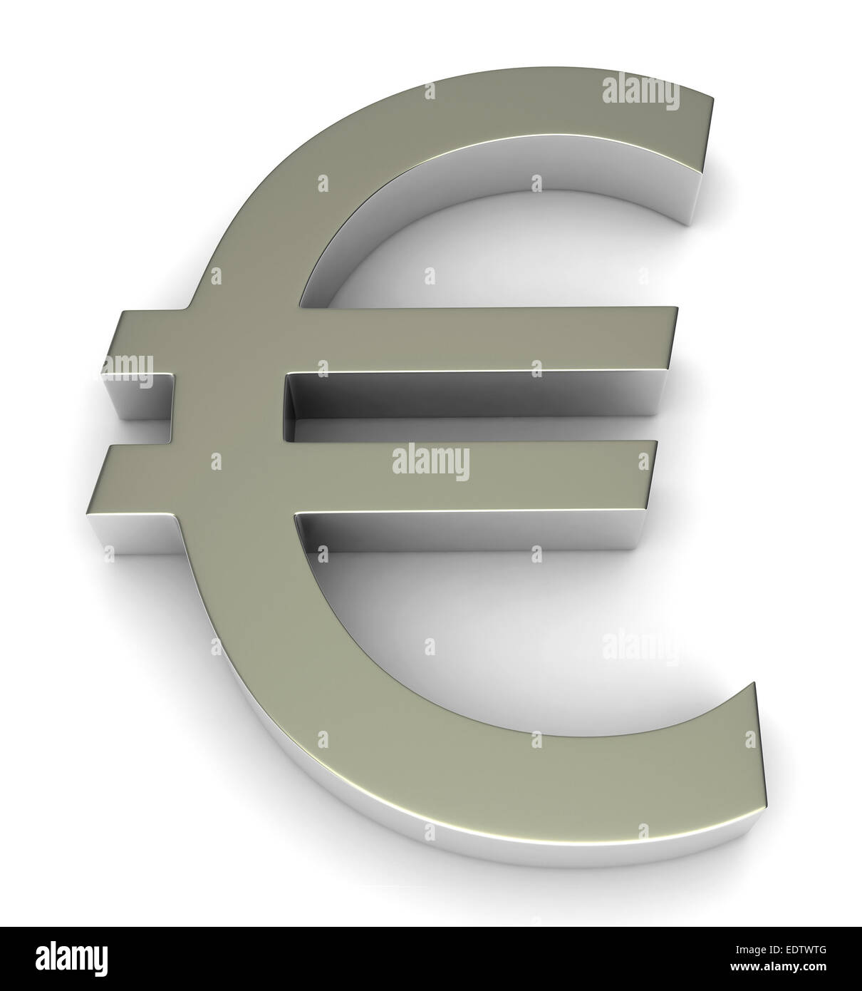 3d render of euro symbol over white background - Stock Image