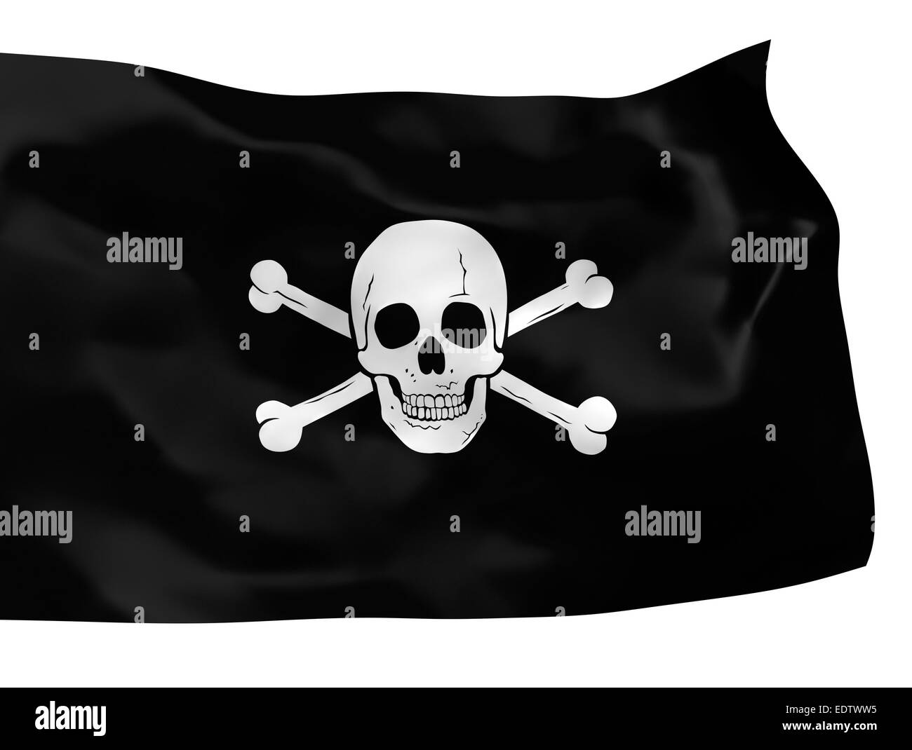 Waving pirate flag isolated over white background - Stock Image