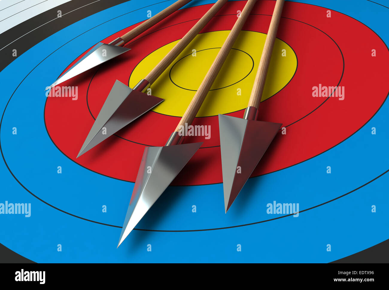 3d render of arrows over target background - Stock Image