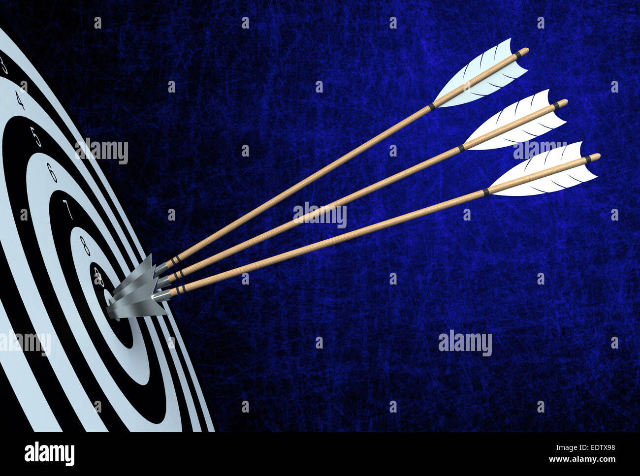 3d render of arrows hitting the center of target - Stock Image