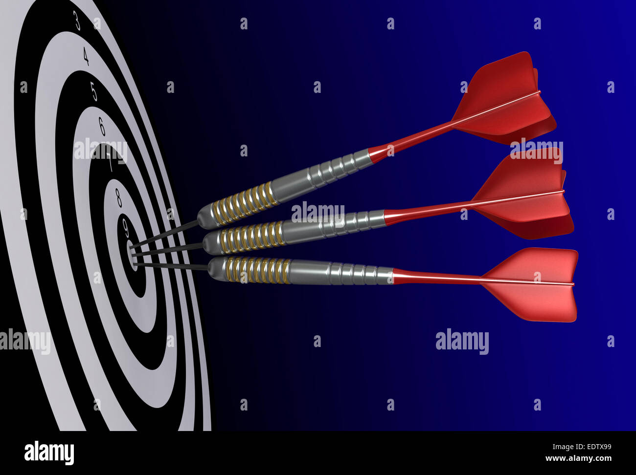 Close up 3d render of darts and target - Stock Image