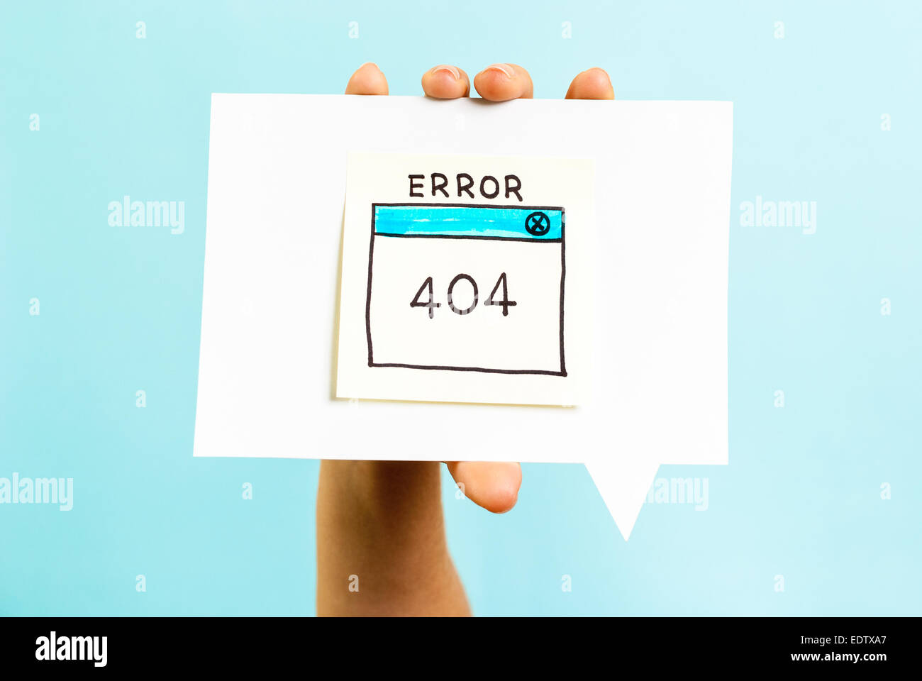 Internet error 404 page not found on blue background - Stock Image