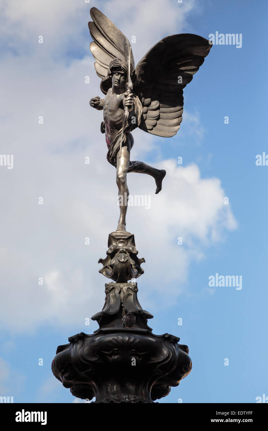 Eros (Anteros) statue at Piccadilly Circus - Stock Image