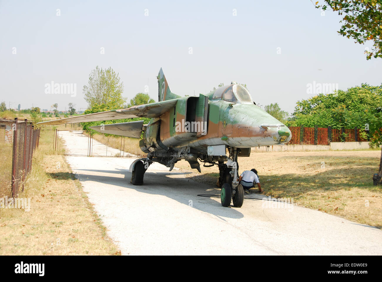 Soviet era Mig-23 fighter jet used in the Bulgarian Air Force - Stock Image