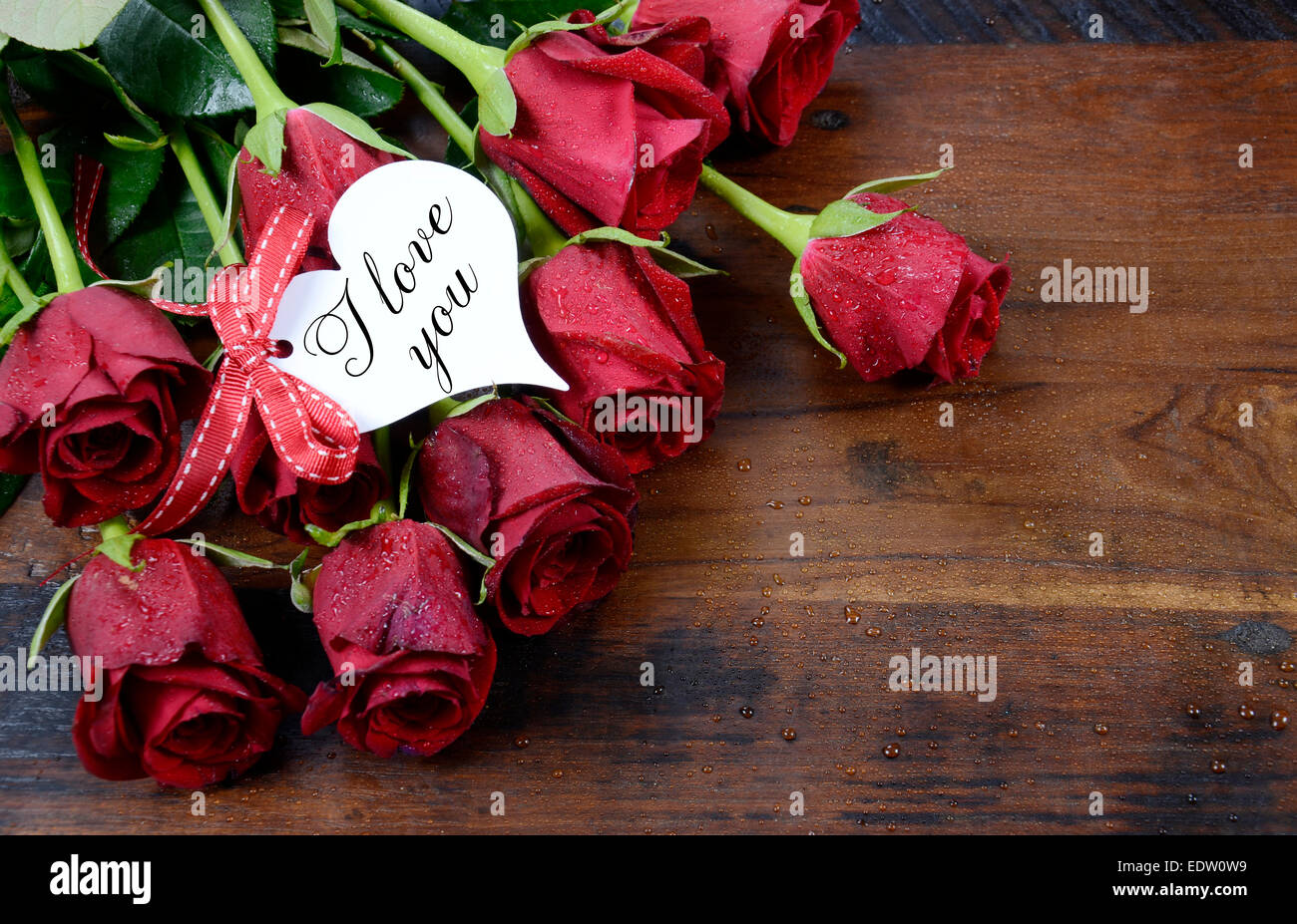 Happy Valentine S Day Red Roses On Dark Recycled Wood Background