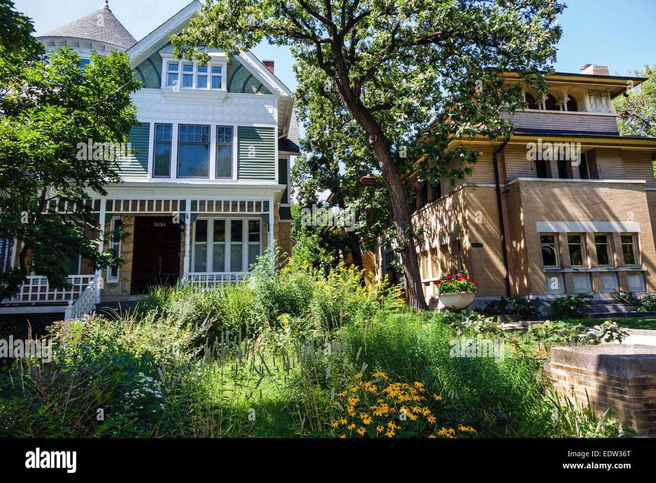 Chicago Illinois South Side South Woodlawn Avenue houses homes mansions Isadore Heller House 1896 architect Frank - Stock Image