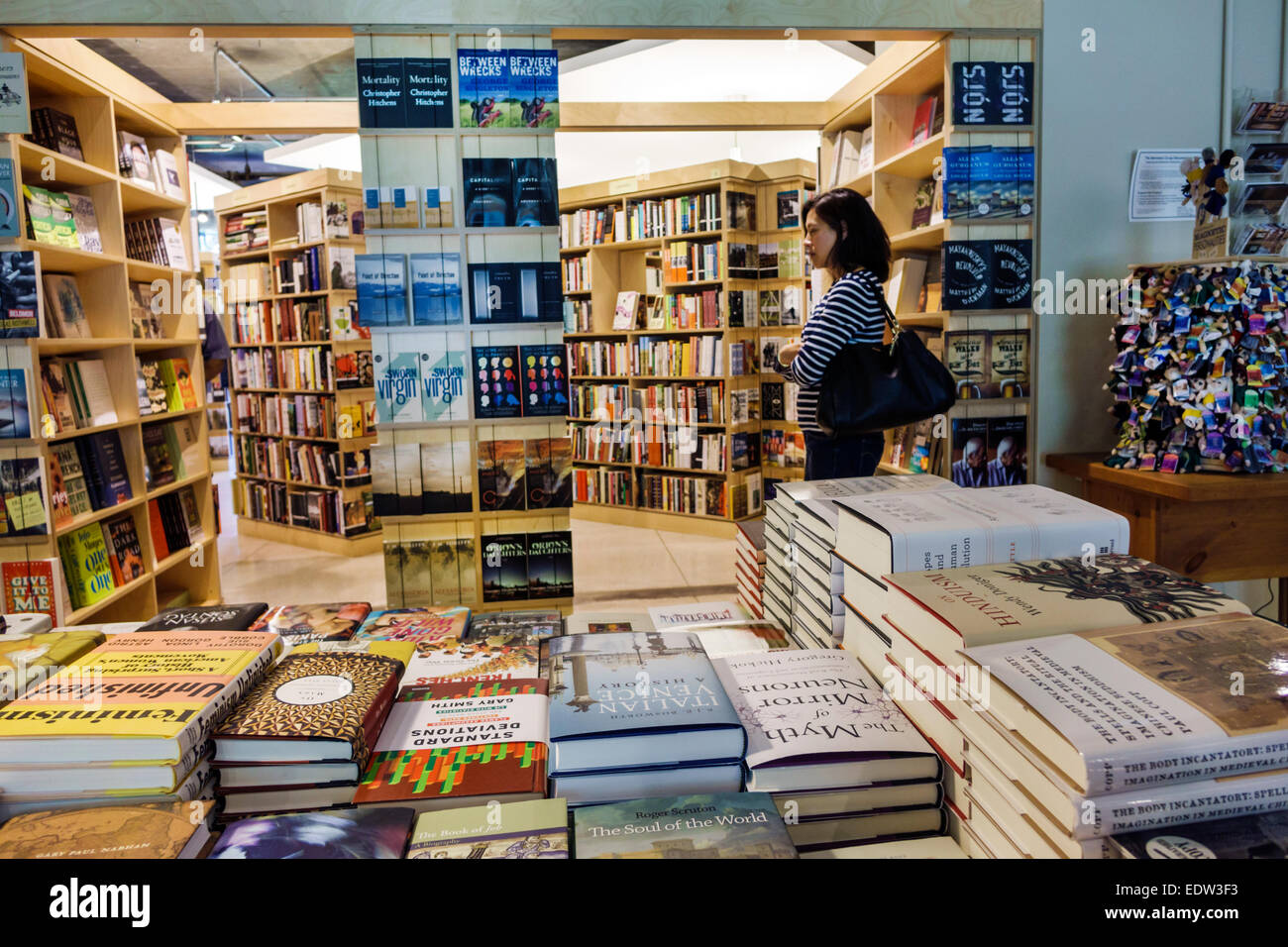 Chicago Illinois Hyde Park campus University of Chicago The Seminary Co-op Bookstores college bookstore inside books - Stock Image