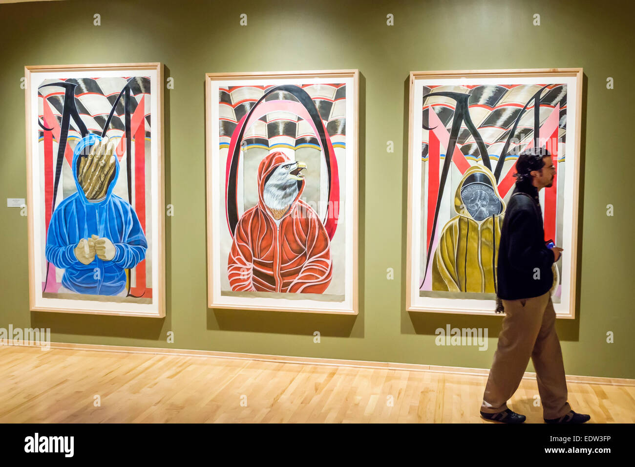 Chicago Illinois Lower West Side Pilsen National Museum of Mexican Art Hispanic Chicano gallery man looking - Stock Image
