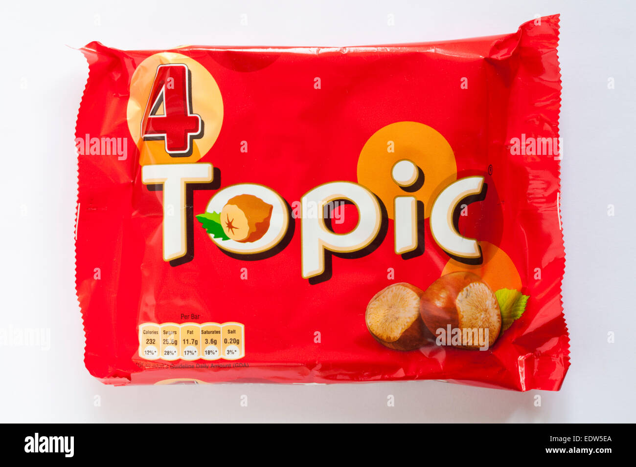 packet of 4 Topic bars isolated on white background - milk chocolate with hazelnuts, soft nougat and smooth caramel - Stock Image
