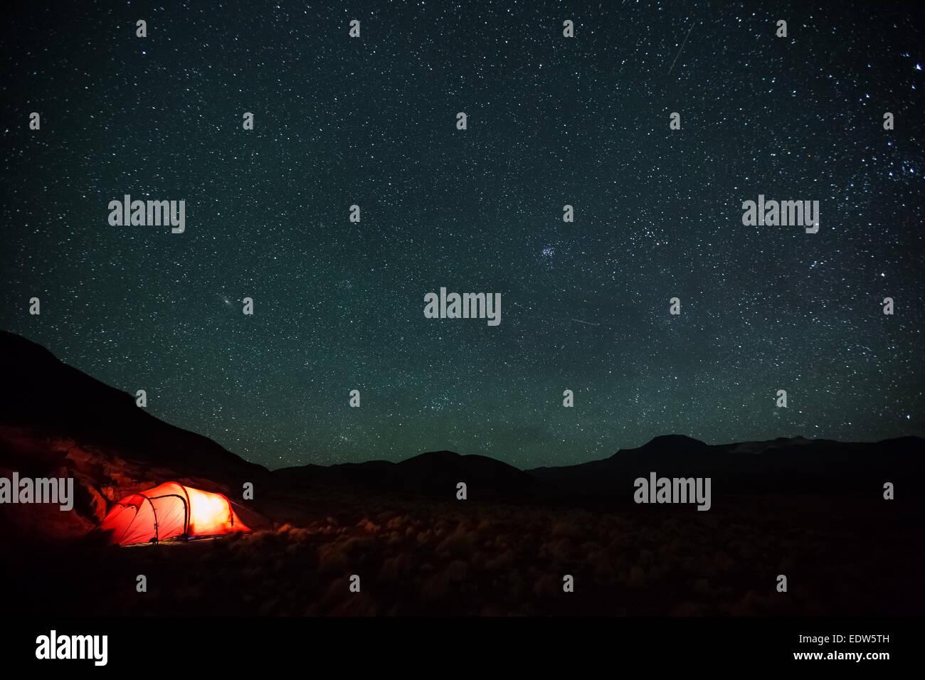Camping at Salar de Talar salt flat, San Pedro de Atacama, Chile, South America - Stock Image