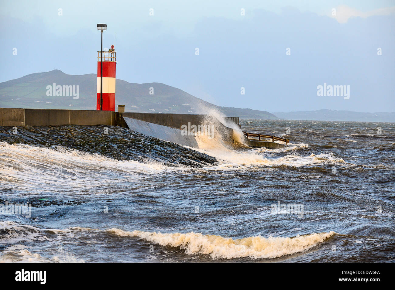 Buncrana Pier, County Donegal, Ireland. 10th January, 2015. Huge waves batter Donegal coast, Ireland. - 10th January - Stock Image