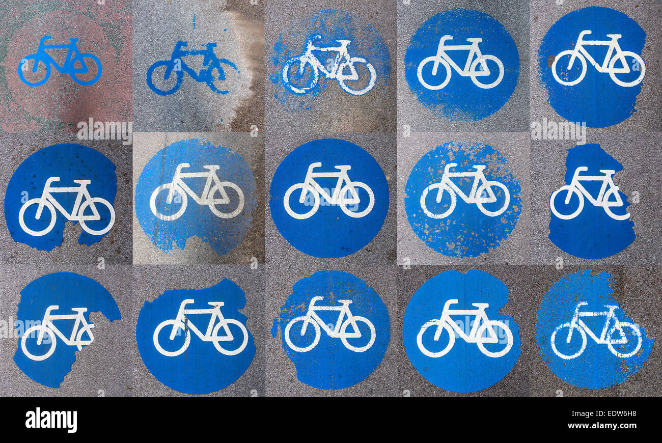 Traffic signs for bike path, painted on the pavement, worn, collage, composition, Stock Photo