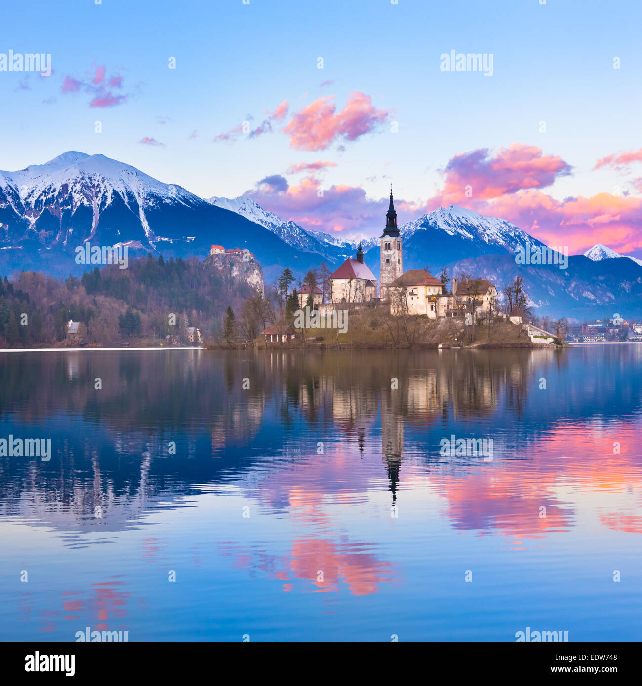 Bled in sunset, Slovenia, Europe. - Stock Image