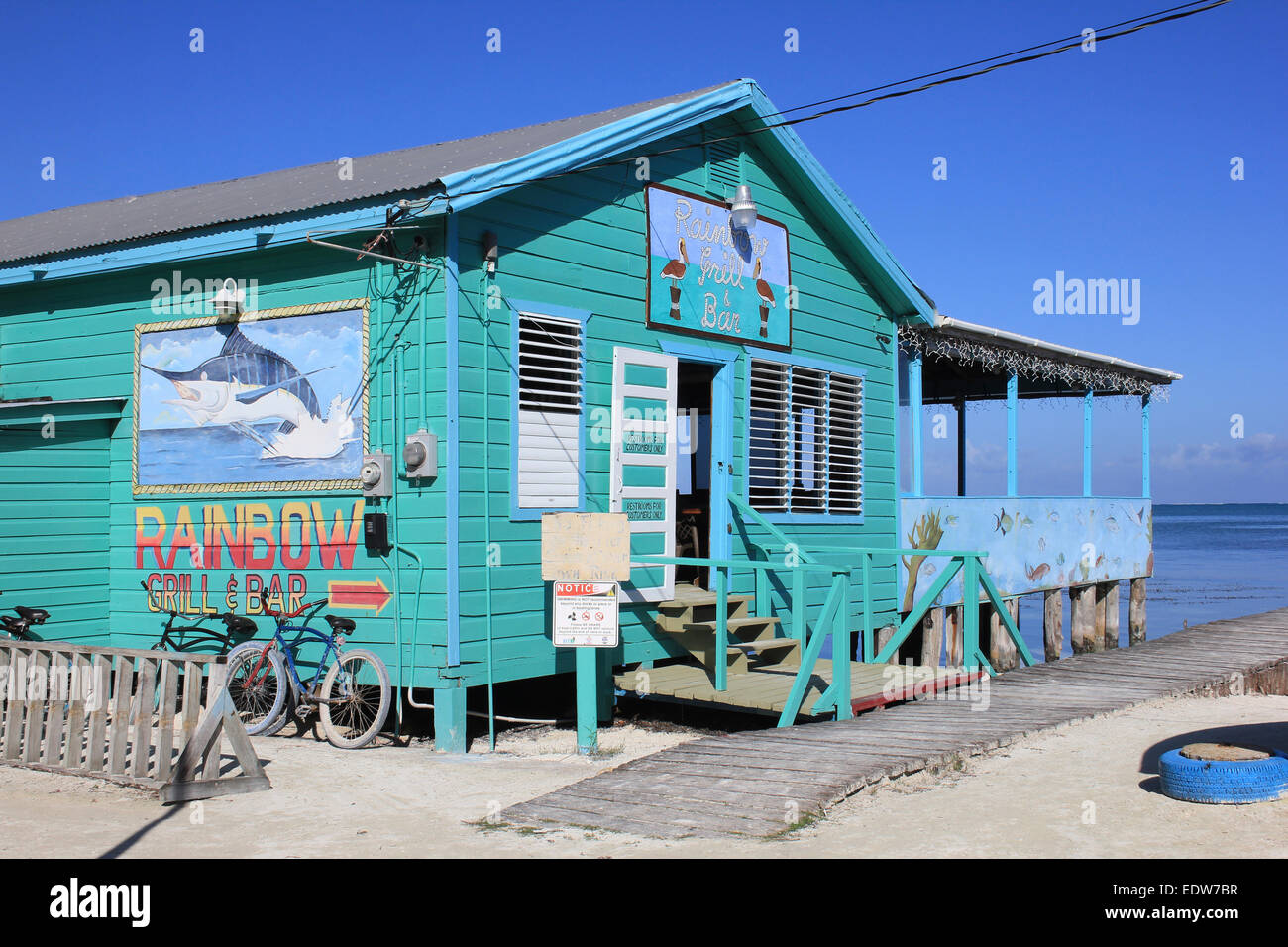 Rainbow Bar And Grill On Caye Caulker, Belize - Stock Image