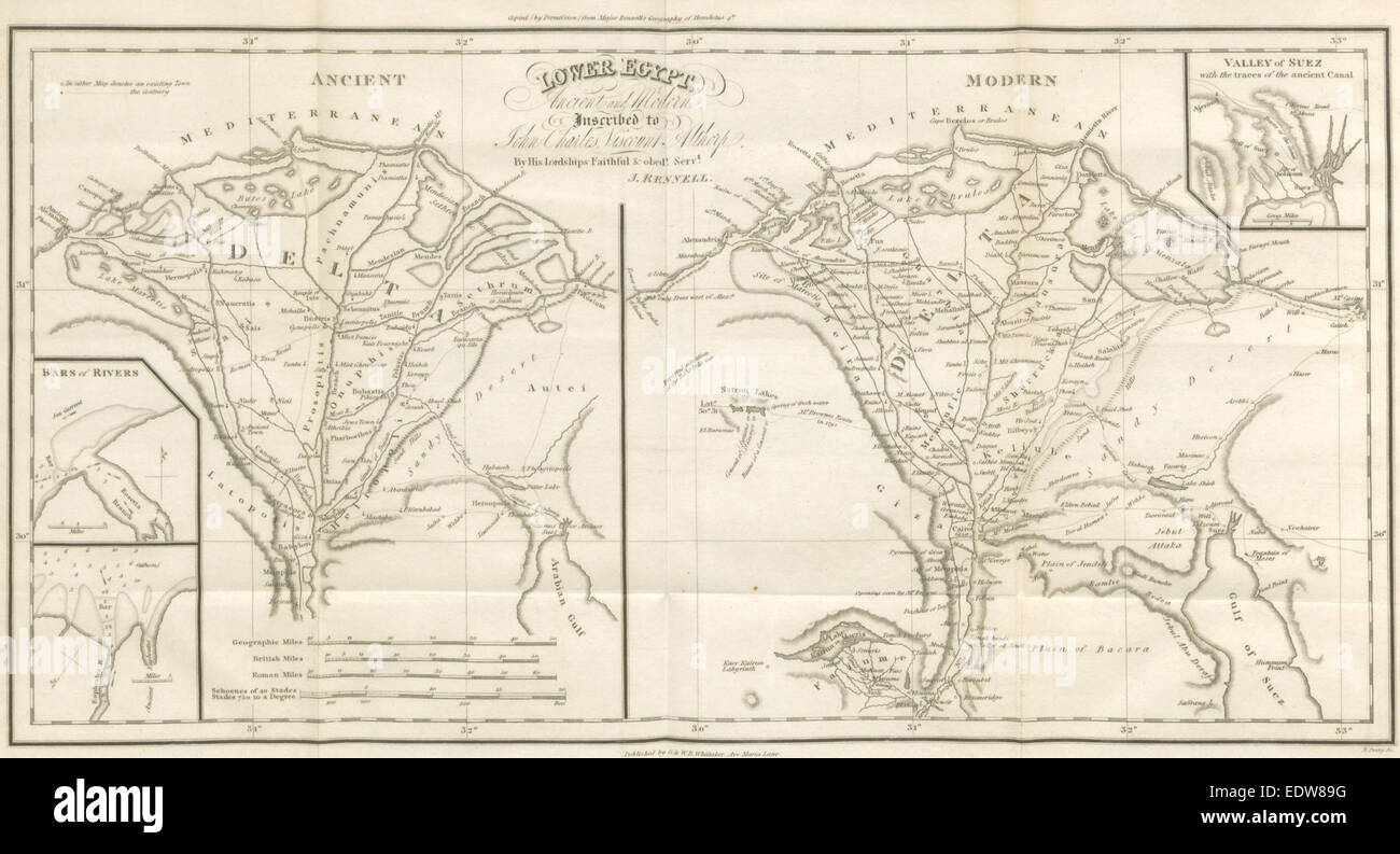 1821 Map Of Lower Egypt Ancient And Modern Stock Photo 77387340