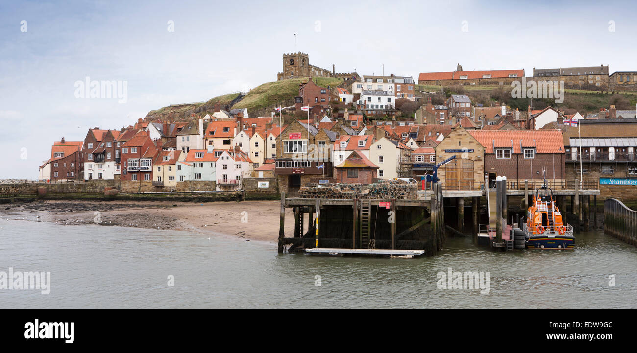 UK, England, Yorkshire, Whitby, Fish Pier, with St Mary's Church above the East Bank of River Esk, panoramic - Stock Image