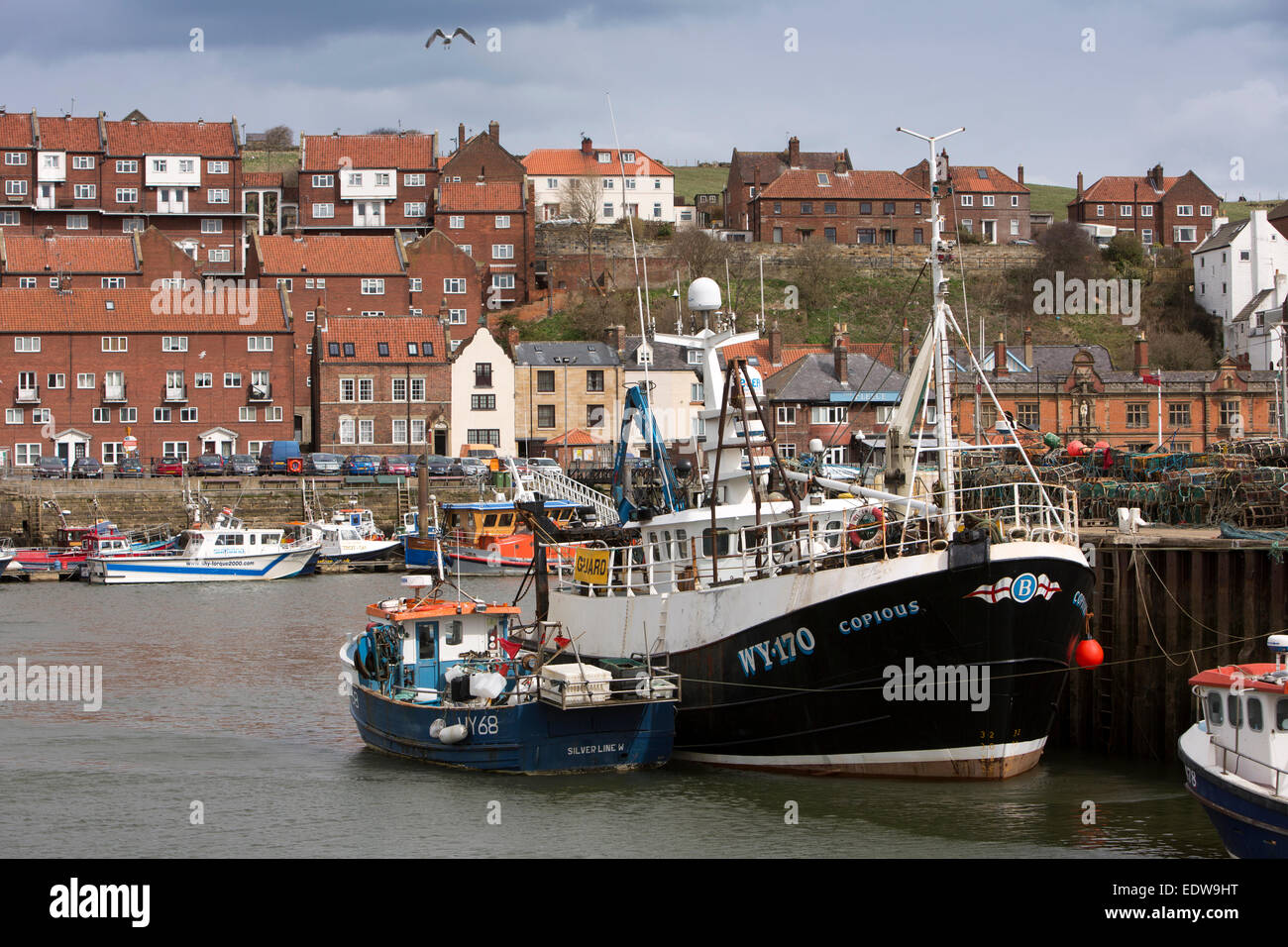 UK, England, Yorkshire, Whitby, New Quay, fishing boat Copious at mooring Stock Photo