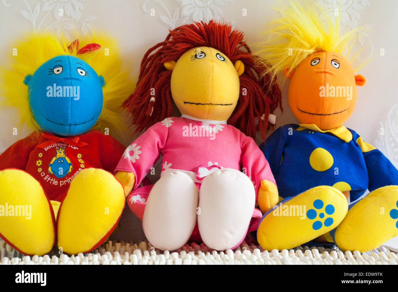 Tweenies Jake, Bella and Fizz characters soft cuddly toys - Stock Image