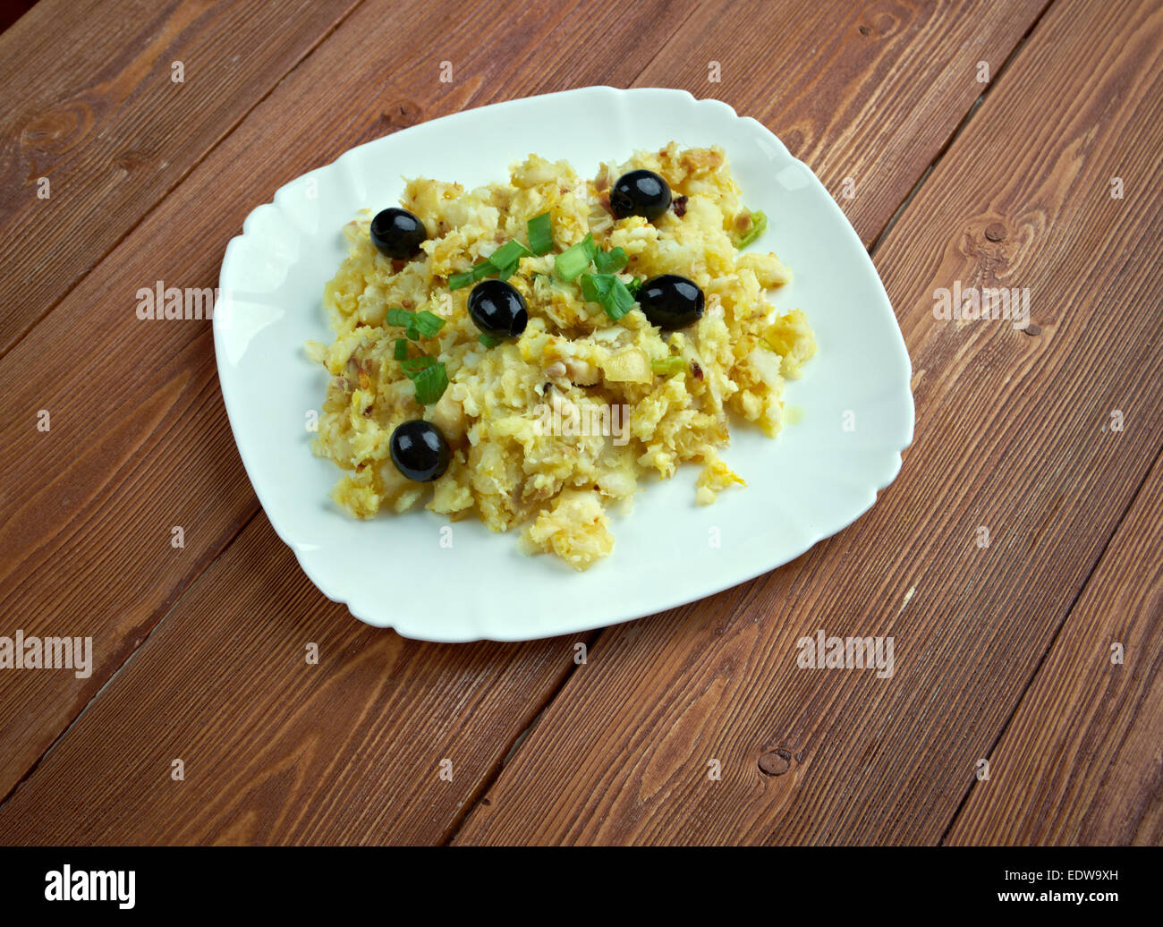 Codfish Bras Style -  most popular Portuguese dishes - Stock Image