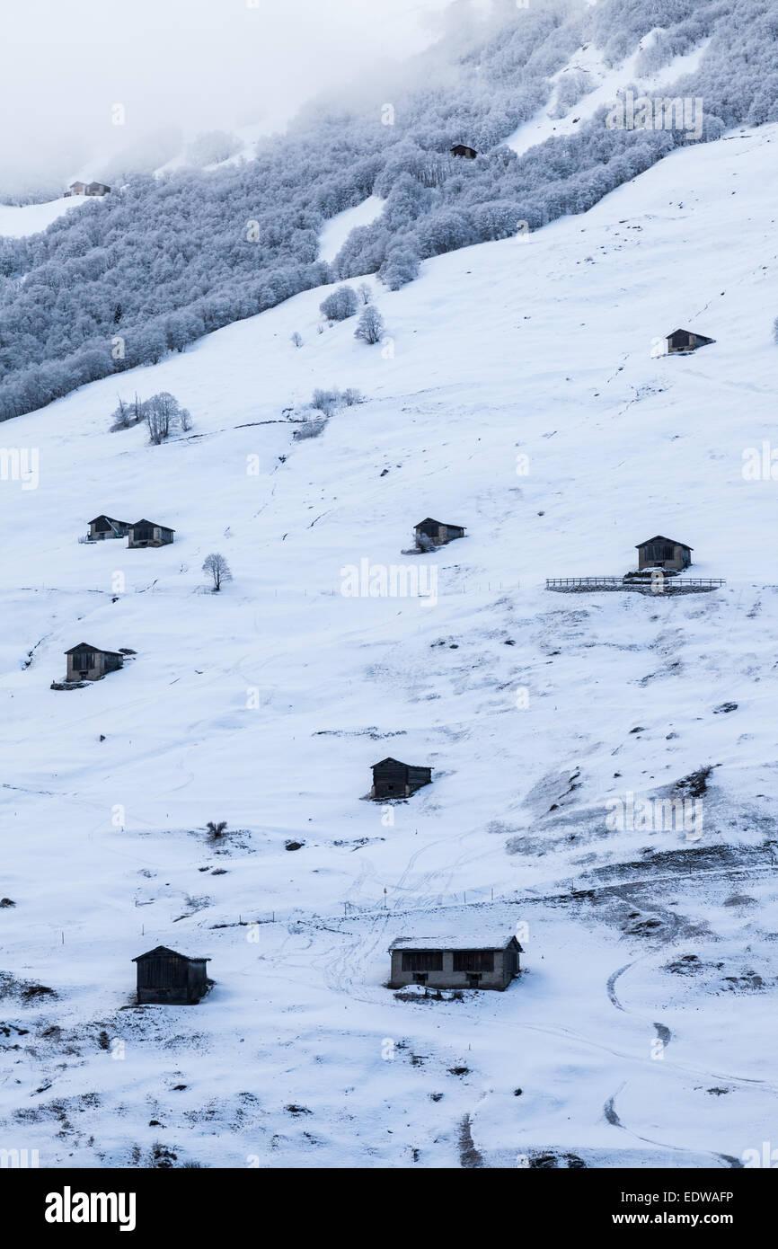 Huts in the alps (Vals, Switzerland) Stock Photo