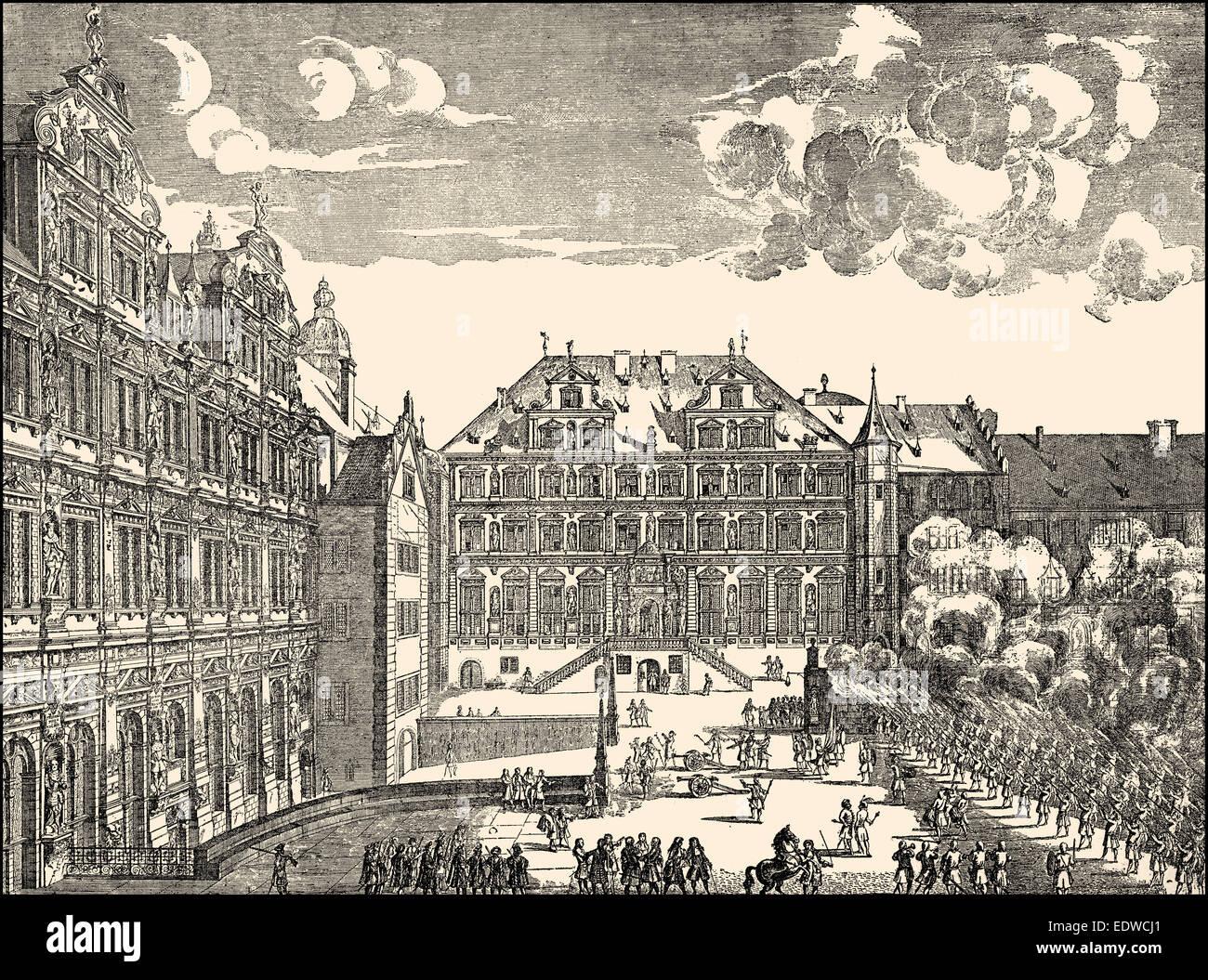 A Foot drill at Heidelberger Castle, 17th century, Heidelberg, Baden-Wuerttemberg, Germany, Europe - Stock Image