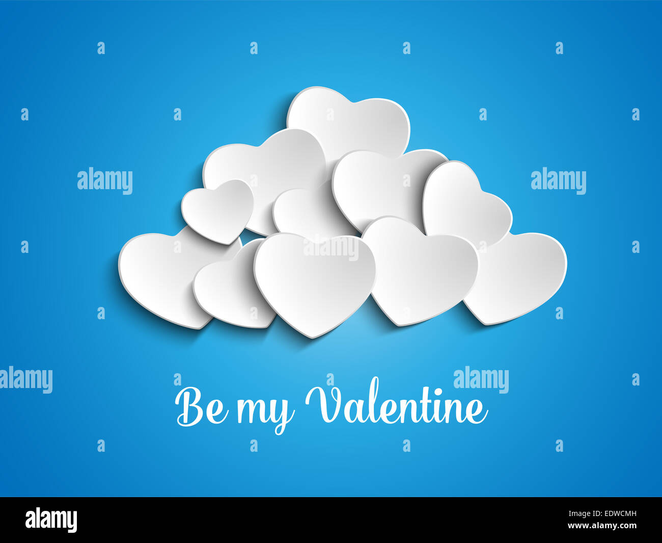 Vector - Valentine Day Heart Clouds in the Sky - Stock Image