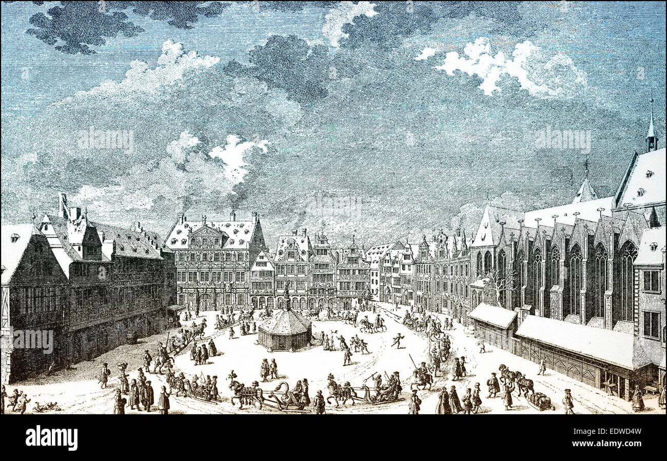 Historical cityscape of Goettingen, Sleigh ride on the marketplace, 18th century, Lower Saxony, Germany, - Stock Image