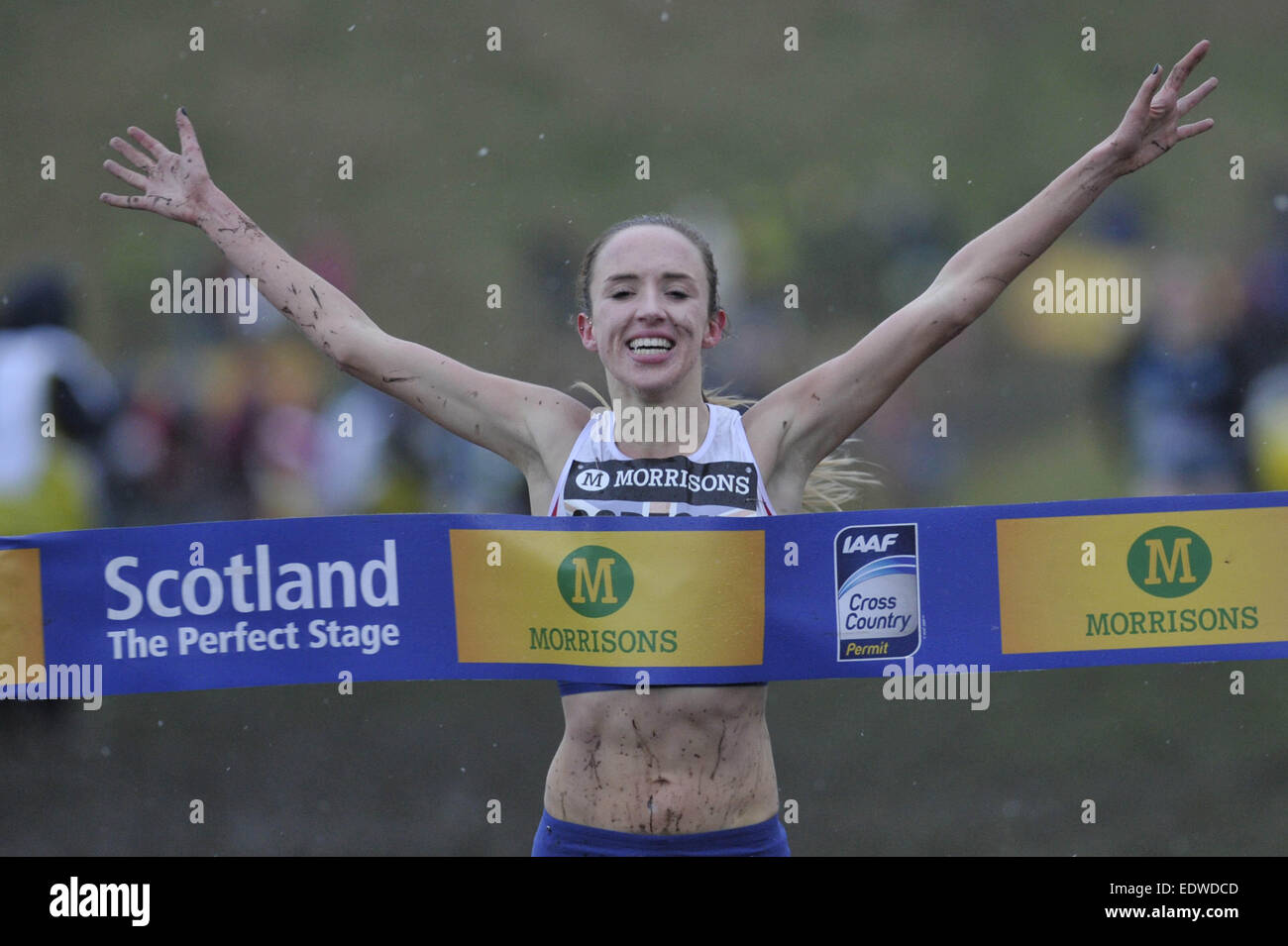 Edinburgh, Scotland, UK. 10th January, 2015. More than 2500 competitors take park in a variety of races in Holyrood - Stock Image