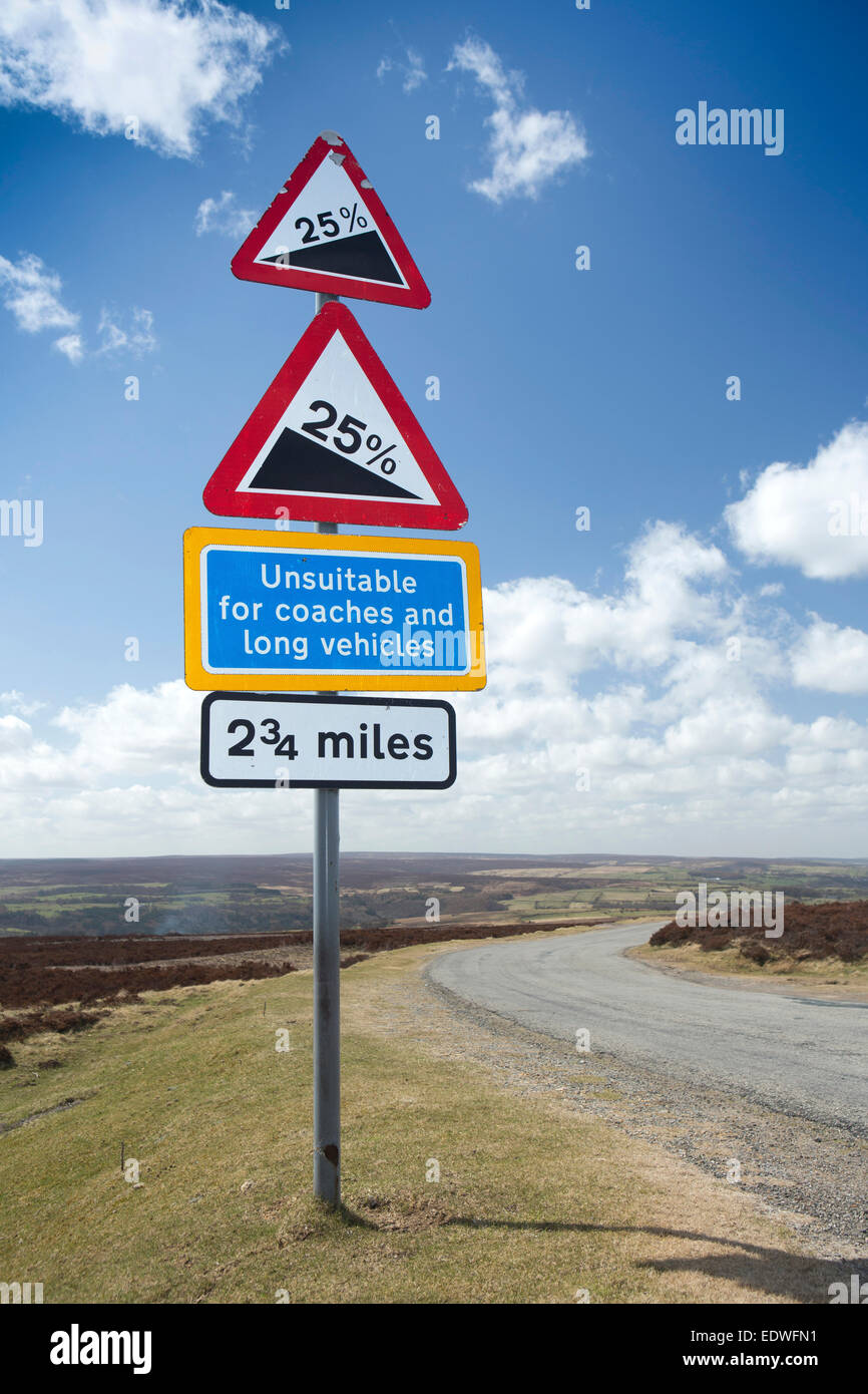 UK, England, Yorkshire, Goathland, Moorland steep road unsuitable for coaches sign - Stock Image