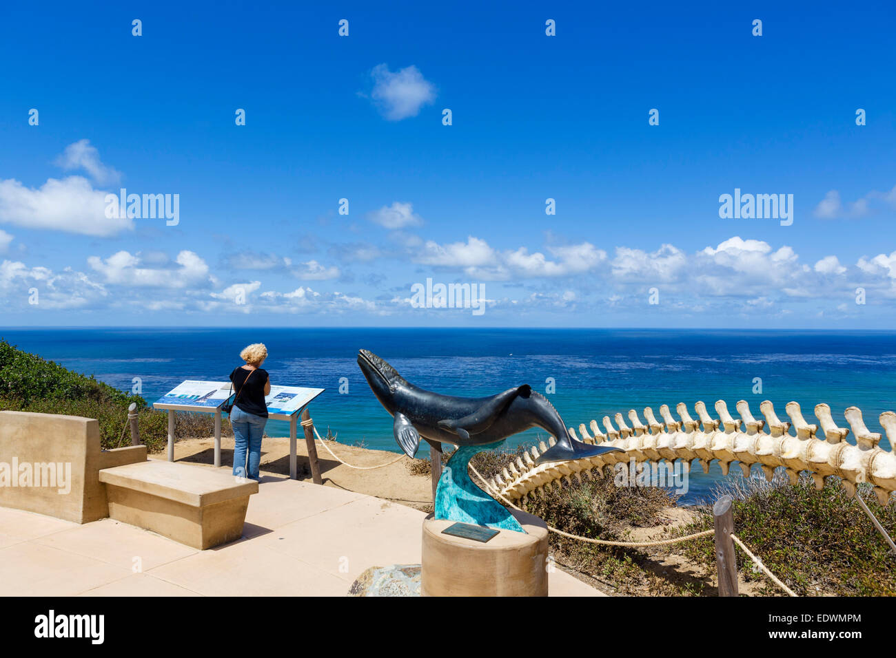 Whaling viewpoint looking over the Pacific Ocean from Point Loma at Cabrillo National Monument, San Diego, California, - Stock Image