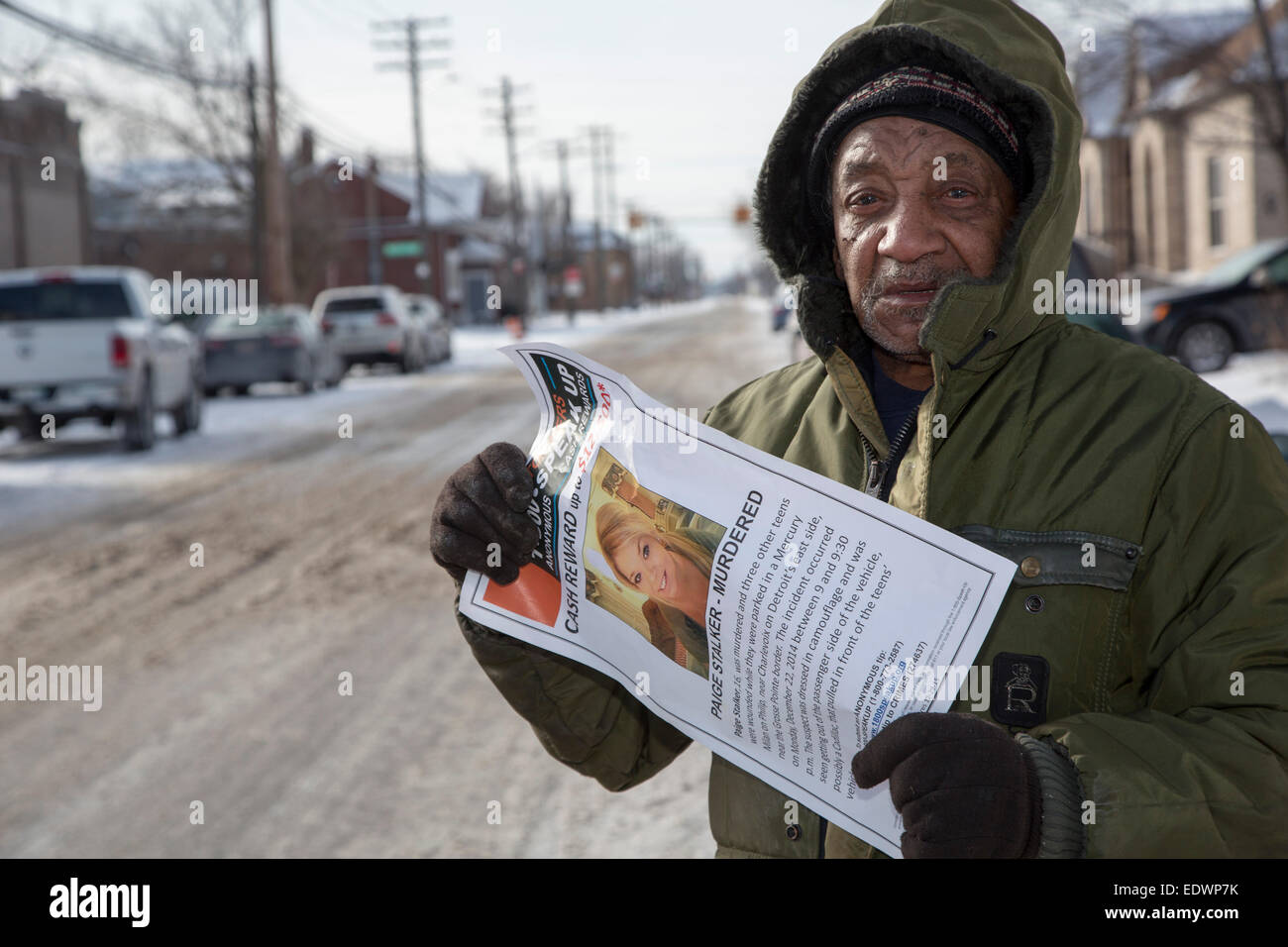 Detroit, Michigan, USA. 10th January, 2015. Family, friends, and community members gathered to pray on a Detroit - Stock Image