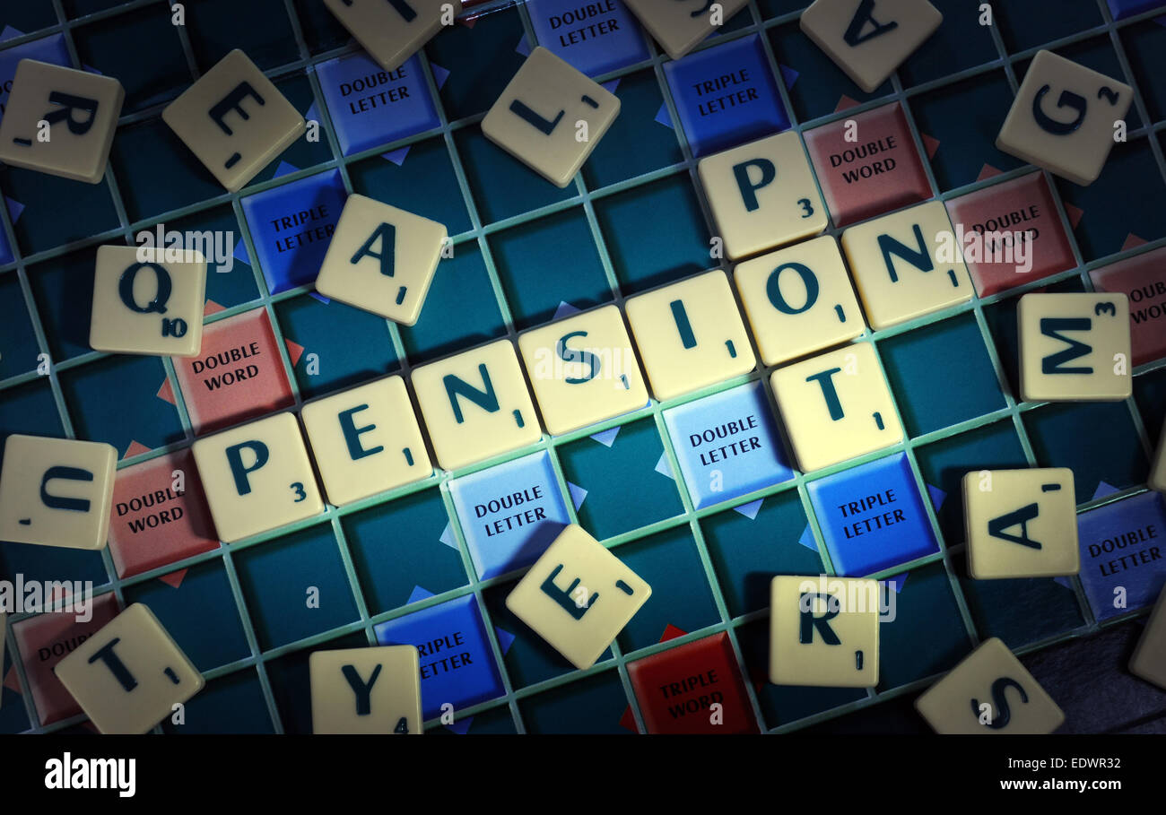 WORD GAME TILES SPELLING PENSION POT RE COMPANY PENSIONS RETIREMENT PLANNING SAVINGS ANNUITY FUNDS MONEY CASH PRIVATE - Stock Image