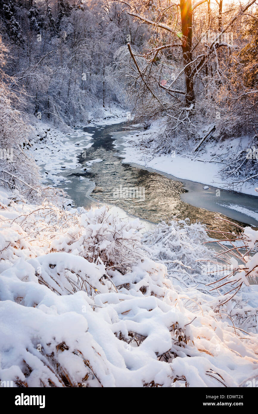 Winter landscape of snow covered forest with flowing river after winter snowstorm glowing and sparkling in warm - Stock Image