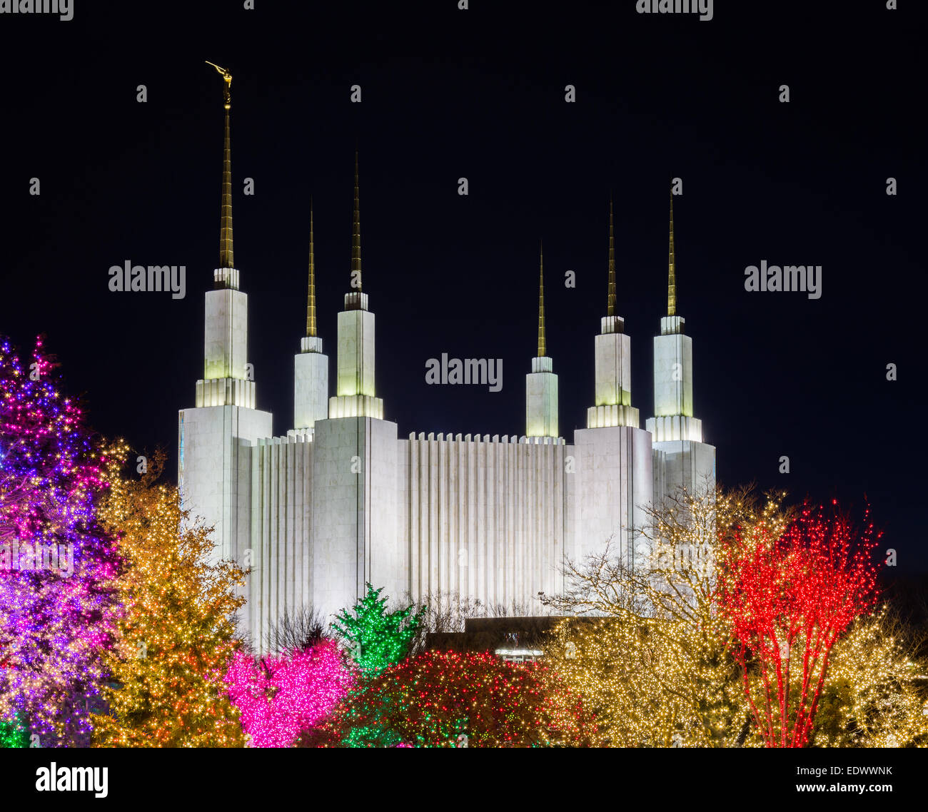 Christmas Lights Washington Dc Temple Stock Photos & Christmas ...