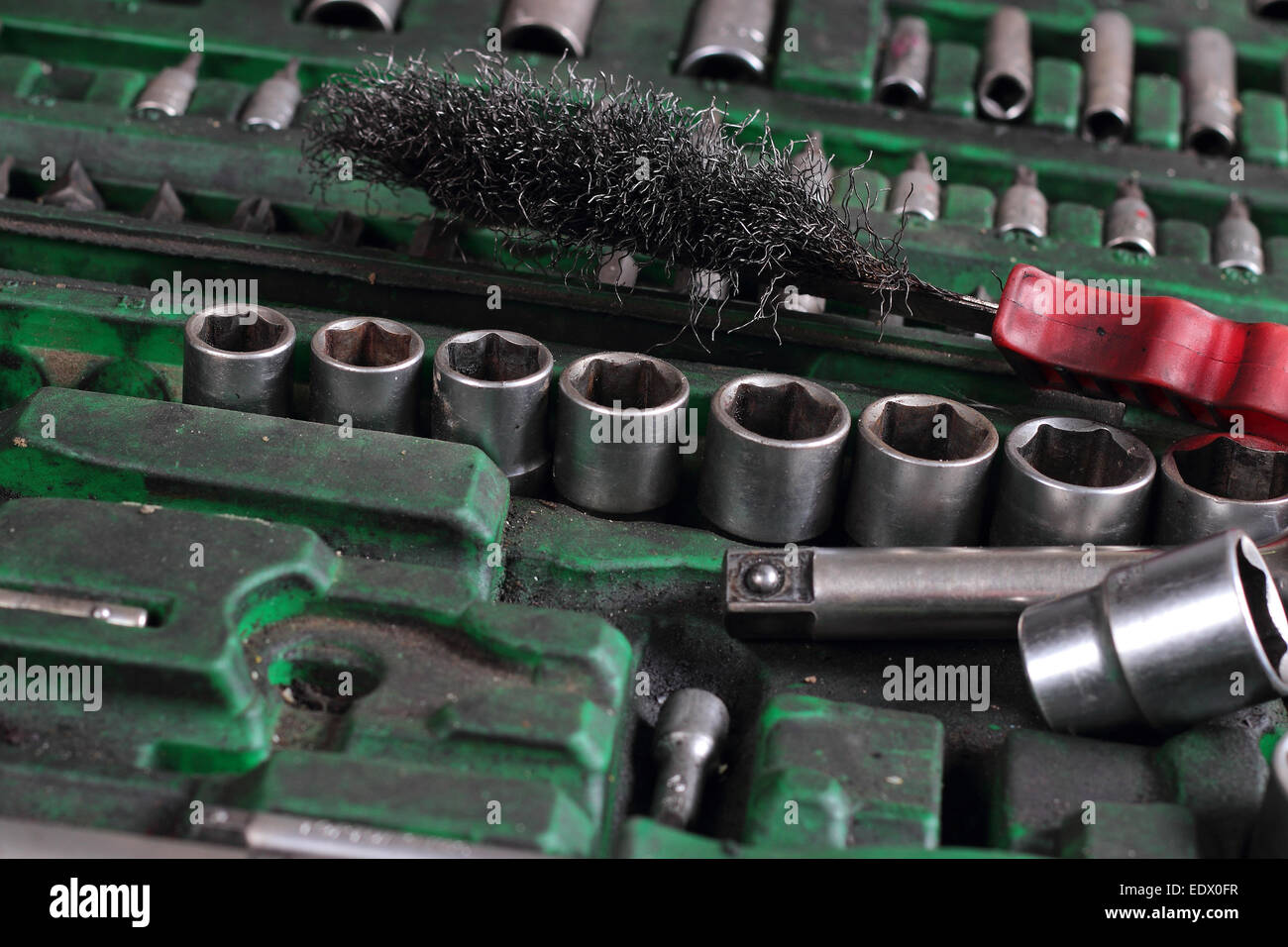 Set of the old tool for car repairs - Stock Image