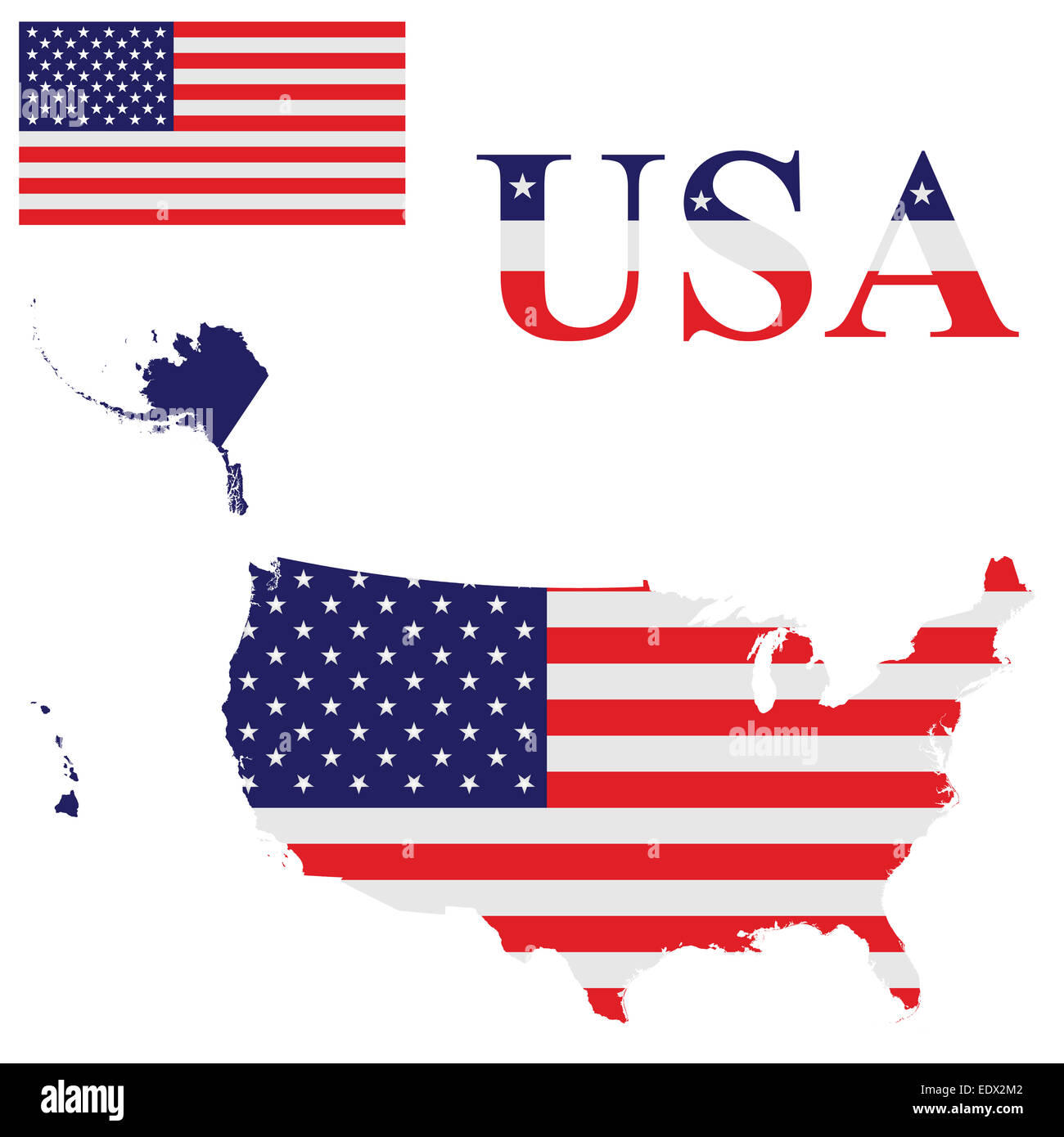 United States Map Alaska And Hawaii Stock Photos & United States Map ...