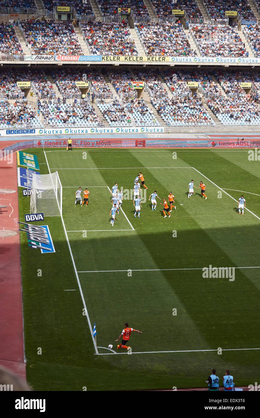 Football game between Real Sociedad and Malaga FC at Anoeta stadium - Stock Image