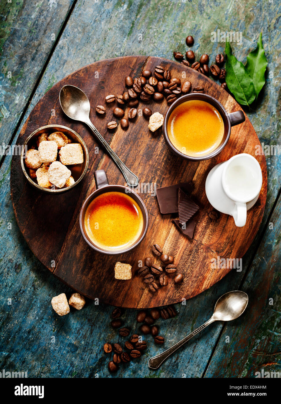 Coffee composition on wooden rustic background - Stock Image