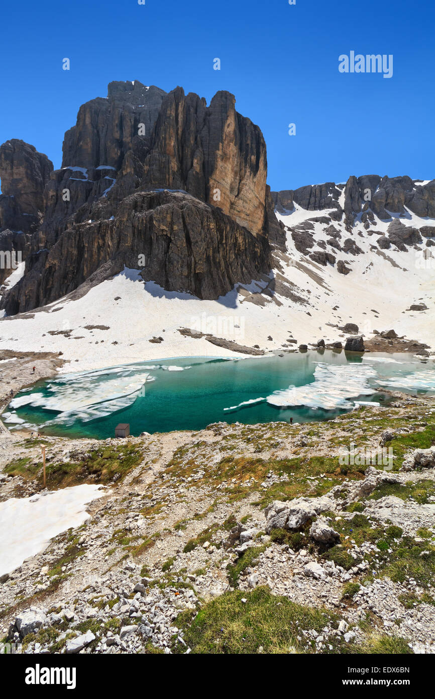summer view of  Pisciadu lake and peak in Sella mountain, sudtirol, Italy Stock Photo